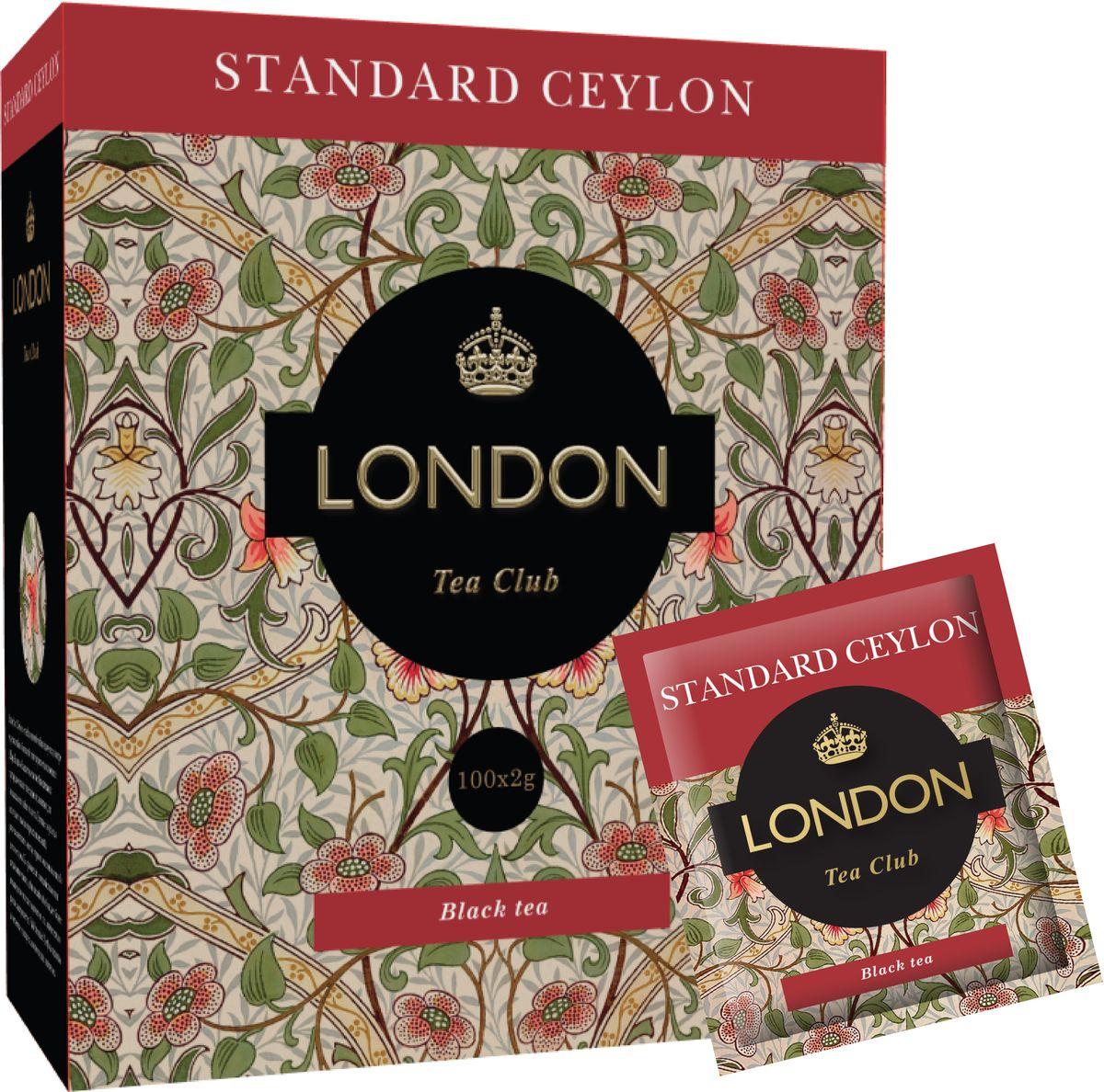 London Tea Club Standard Ceylon чай черный в пакетиках, 100 шт101246Стандарт цейлонского чая хорошо известен своим качеством. Этот чай славится своим ароматом и насыщенным, крепким, терпким вкусом. Отлично сочетается с молоком или лимоном.