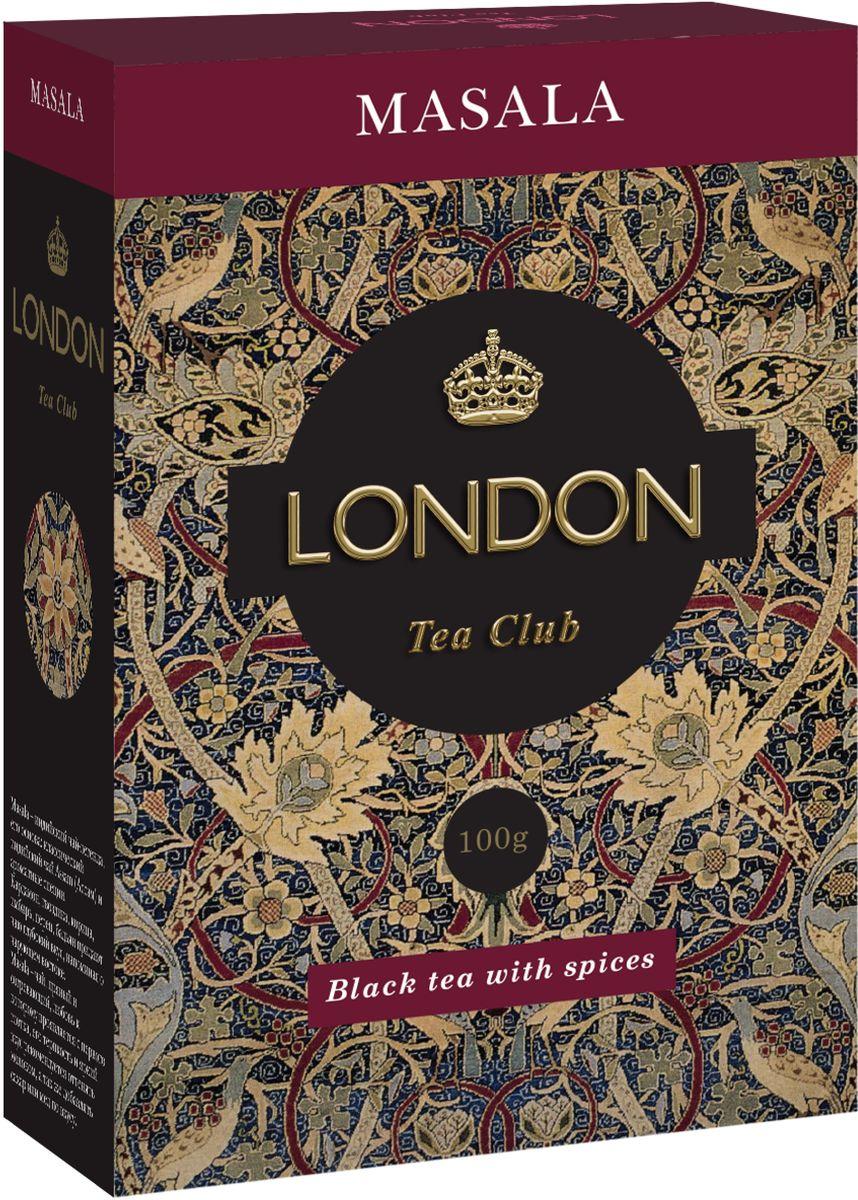 London Tea Club Masala чай черный листовой со специями, 100 г0120710Masala - индийский чай-легенда, его основа: классический Assam (Ассам) и ароматные специи. Кардамон, гвоздика, корица, имбирь, перец, бадьян придают чаю глубокий вкус, напоминая о чарующем востоке. Masala-чай пряный и согревающий, любовь к которому проявляется с первого глотка. Его терпкость и яркий вкус рекомендуется оттенять молоком, а также добавлять сахар или мед по вкусу.