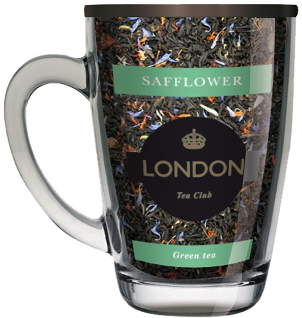 London Tea Club зеленый чай с сафлором в стеклянной кружке, 70 г4607051543126Китайский зеленый чай с добавлением сафлора. Аромат ярких, оранжевых лепестков сафлора раскрывается в напитке свежими цветочными нотами, делая терпкий вкус зеленого чая более мягким, а настой более легким и прозрачным.