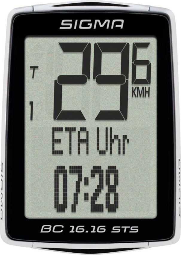 Велокомпьютер Sigma Topline BC 16.16 STS CAD, 16 функцийZ90 blackОсобенности:2 размера колёс;автоматический старт / стоп;автоматическое сопряжение;автоматическое распознавания;резервная функция микросхемы памяти (общая и установка значений);передача данных с помощью док-станции TOPLINE 2016 года;цифровой диапазон 90 см;режим экономии энергии;подсветка;связь с смартфон (android) через NFC;интервала обслуживания регулируется с помощью УФСБ;языки: 7;статистика обучения в течение 12 месяцев. Функции:текущая скорость;средняя скорость;время вождения;максимальная скорость;время прибытия (ETA) таймер;время (12/24);общее время в пути;общее расстояние для двух колёс;текущая температура;функции экономии топлива;общая экономия топлива. Функции каденса:текущая частота вращения педалей;средняя частота вращения педалей.