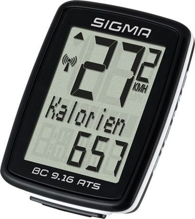 Велокомпьютер Sigma Topline BC 9.16 ATS, 9 функций300810Функции:Текущая скоростьСредняя скоростьВремя вожденияОбщее время в путиОбщее расстояниеСчетчик калорийМаксимальная скоростьВремя (12/24)Аналоговый диапазон 70 см (диапазон для датчика числа оборотов)Автоматический старт / стоп, ограничено до 2 часовПередача данных с помощью док-станции TOPLINE 2016 годаИнтервал обслуживания регулируется с помощью УФСБЯзыки: 7.