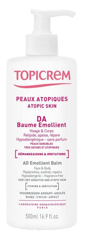 Topicrem АД Бальзам липидовосстанавливающий для атопичной кожи, 500 мл2001010Разработан для ухода за очень сухой чувствительной и атопичной кожей младенцев, детей и взрослых. Восстанавливает гидролипидную пленку, успокаивает, увлажняет и смягчает кожу. Содержит льняное масло (насыщает необходимыми жирными кислотами омега 3 и 6, восстанавливает гидролипидную пленку), и аллантоин (уменьшает раздражения, зуд, ощущение покалываний). Нежирная и нелипкая текстура. Быстро впитывается. Без ароматизаторов, красителей, парабенов. Гипоаллергенно.