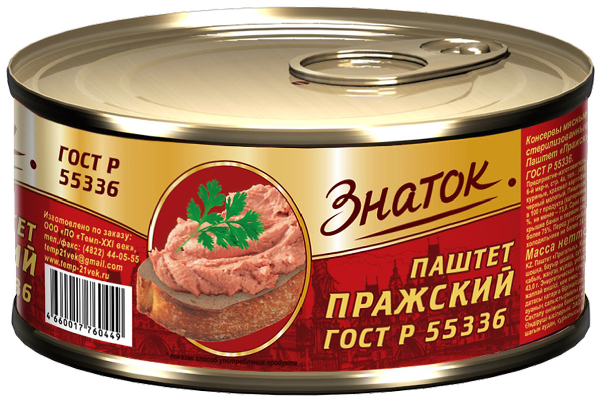 """Паштет ТМ """"Знаток"""" является уникальным на рынке продуктом, так как он не содержит консервантов, красителей, ароматизаторов и прочих добавок и производится исключительно из натуральных ингредиентов и высококачественного мясного сырья в соответствии со стандартами ГОСТ. Паштет ТМ """"Знаток"""" изготавливается на основе отборной говяжьей или свиной печени, которая содержит огромное количество полезных для организма веществ. В то же время паштет ТМ """"Знаток"""" является очень вкусной и сытной закуской на любом столе, будь это праздничный ужин или поход в лес. Для удобства открывания и закрывания банка оснащается ключом."""