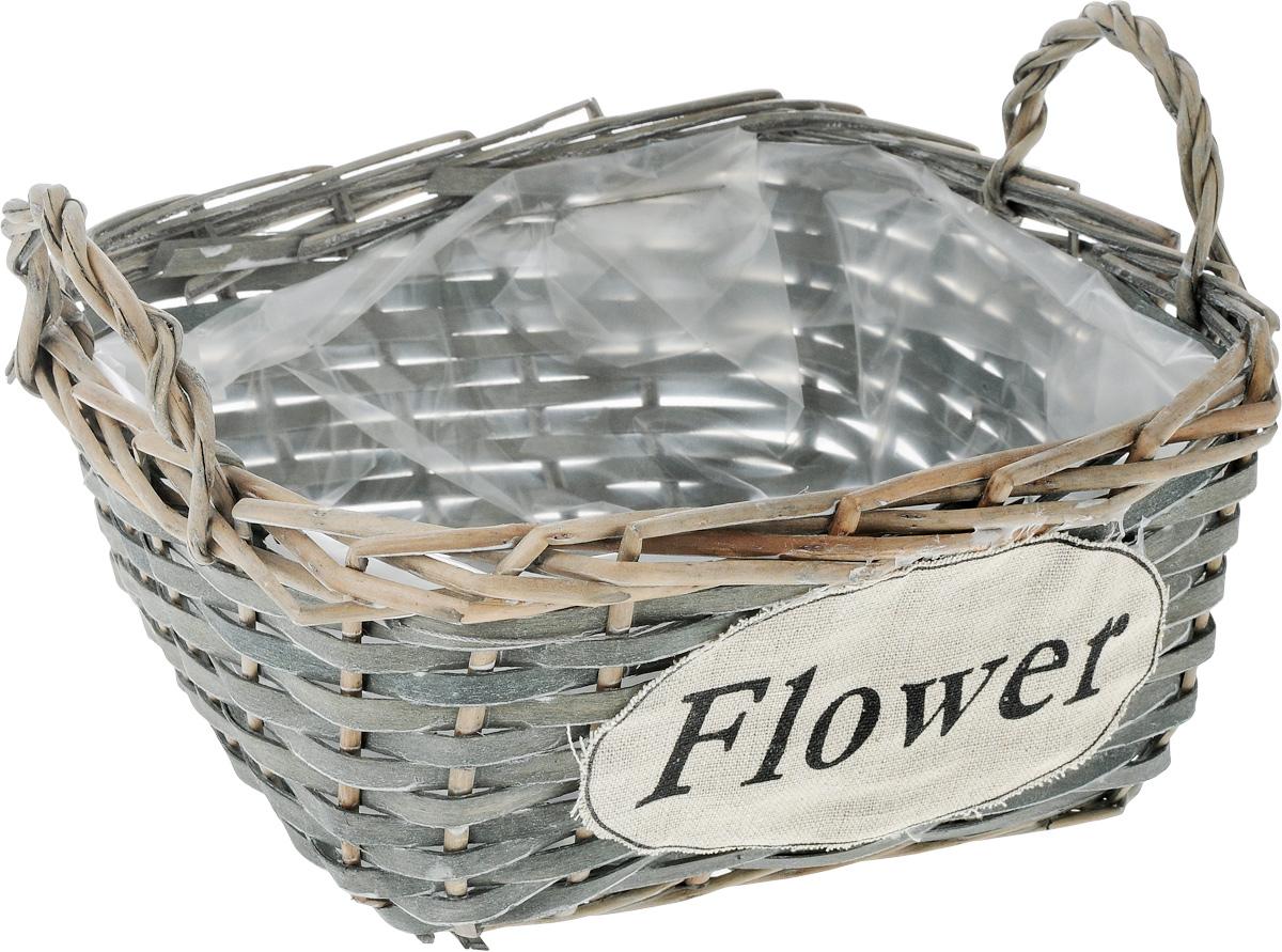 Кашпо квадратное Engard Flower, с ручками, 25 х 25 х 11 смBH-07-3Квадратное плетеное кашпо с ручками Engard Flower из натурального дерева и ивовой лозы выглядит необычно и стильно. Внутренняя поверхность снабжена полиэтиленом. Прочное плетение обеспечивает устойчивость. С внешней стороны кашпо дополнено текстильным элементом с надписью Flower. Красивое и экологичное кашпо станет прекрасным украшением интерьера. Оригинальный дизайн в стиле прованс создаст уют в доме и оживит интерьер. Размер основания: 17 х 18 см. Внутренний размер: 23 х 23 см.