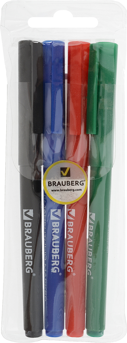 Brauberg Набор маркеров перманентных ClassicLine 4 цвета150729Маркеры Brauberg ClassicLine предназначены для письма на любой поверхности. Фетровый наконечник отличается повышенной износоустойчивостью, а чернила - яркими цветами и хорошей свето- и водоустойчивостью.Ширина линии письма - 1 мм. Тонкий износоустойчивый наконечник. В наборе 4 цвета: черный, синий, красный, зеленый. Светоустойчивые и водостойкие чернила.