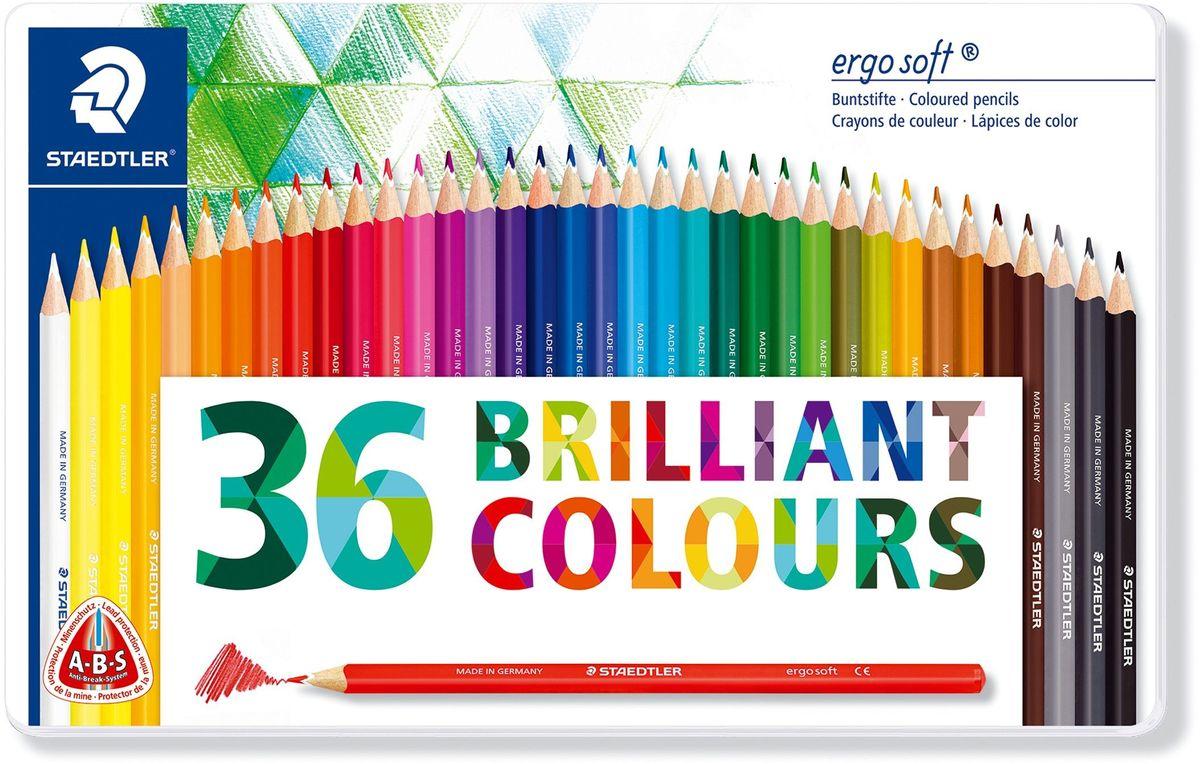 Staedtler Набор цветных карандашей Ergosoft 157 36 цветов2010440Набор трехгранных цветных карандашей Ergosoft, в металлической упаковке с подвесом, 36 ярких цвета. Цветные карандаши Ergosoft эргономичной трехгранной формы для удобного и легкого письма. Уникальное, нескользящее мягкое покрытие с полем для имени. A-B-S - белое защитное покрытие для укрепления грифеля и для защиты от поломки. Очень мягкий и яркий грифель. Лак на водной основе. При производстве используется древесина сертифицированных и специально подготовленных лесов.
