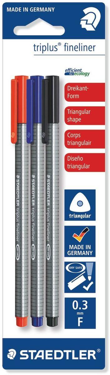 Staedtler Набор капиллярных ручек Triplus 3 цветаC13S041944Набор трехгранных капиллярных ручек Triplus в блистере. 3 цвета в ассортименте: синий, красный, черный. Эргономичная форма для удобного и легкого письма. Пишущий узел завальцован в металл. Защита от высыхания - может быть оставлен без колпачка на несколько дней (тест ISO). Чернила на водной основе. Отстирываются с большинства тканей. Корпус из полипропилена гарантирует долгий срок службы. Толщина линии примерно 0,3 мм.