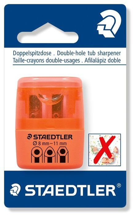 Staedtler Точилка на 2 отверстия цвет оранжевый неонFS-36052Точилка в пластиковом корпусе на 2 отверстия. Неон оранжевый. Блистер. Подходит для чернографитовых стандартных карандашей диаметром до 8,2 мм с углом заточки 23° для четких и аккуратных линий. Также для толстых чернографитовых и цветных карандашей диаметром до 11 мм, угол заточки 30° для широких и ровных линий. Металлическая затачивающая часть. Закрытая конструкция предотвращает высыпание мусора во время заточки. Безопасный крепеж крышки.