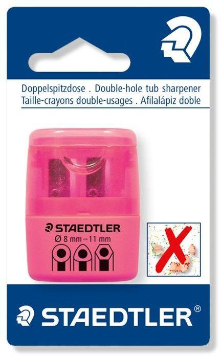 Staedtler Точилка на 2 отверстия цвет розовый неонFS-36054Точилка в пластиковом корпусе на 2 отверстия. Неон розовый. Блистер. Подходит для чернографитовых стандартных карандашей диаметром до 8,2 мм с углом заточки 23° для четких и аккуратных линий. Также для толстых чернографитовых и цветных карандашей диаметром до 11 мм, угол заточки 30° для широких и ровных линий. Металлическая затачивающая часть. Закрытая конструкция предотвращает высыпание мусора во время заточки. Безопасный крепеж крышки.