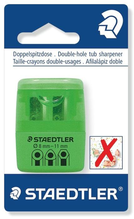 Staedtler Точилка на 2 отверстия цвет зеленый неонFS-36052Точилка в пластиковом корпусе на 2 отверстия. Неон зеленый. Блистер. Подходит для чернографитовых стандартных карандашей диаметром до 8,2 мм с углом заточки 23° для четких и аккуратных линий. Также для толстых чернографитовых и цветных карандашей диаметром до 11 мм, угол заточки 30° для широких и ровных линий. Металлическая затачивающая часть. Закрытая конструкция предотвращает высыпание мусора во время заточки. Безопасный крепеж крышки.