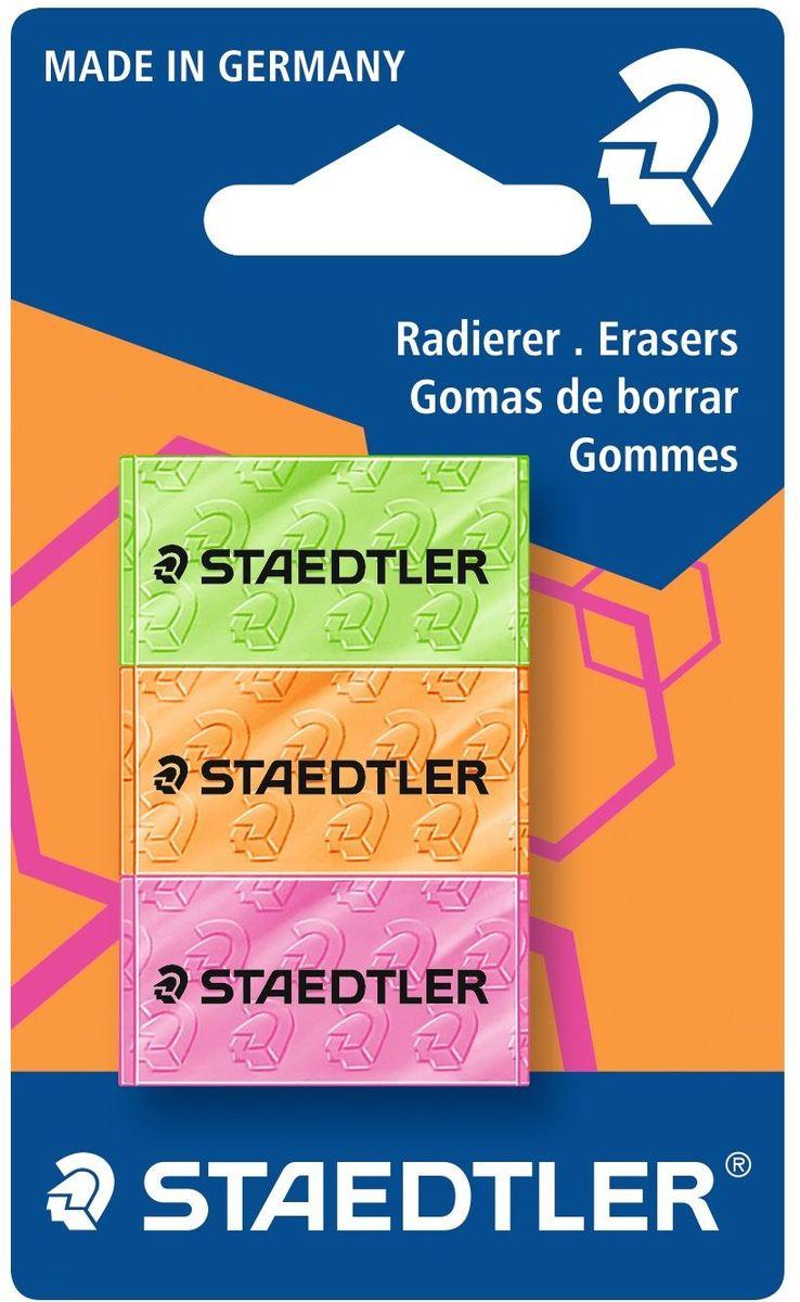 Staedtler Набор ластиков 526 3 штFS-36052Набор цветных ластиков 526 серии. 3 шт. в картонной упаковке с подвесом, серия неон, салатовый, оранжевый и розовый цвета. Размер упаковки - 66 х 110 мм. Размер ластика - 11,5 х 18 х 35 мм. Высочайшее качество для первоклассного стирания. Минимальное количество крошек. Без фталата и латекса. Долгий срок службы.