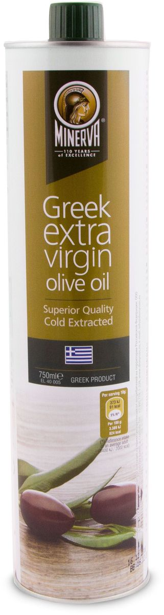Minerva Extra Virgin оливковое масло, 750 мл0120710Греческое оливковое масло Minerva Extra Virgin первого холодного отжима произведено из оливок сорта Коронейки. Это отборное масло позволяет почувствовать насыщенный фруктовый вкус свежесобранных оливок.