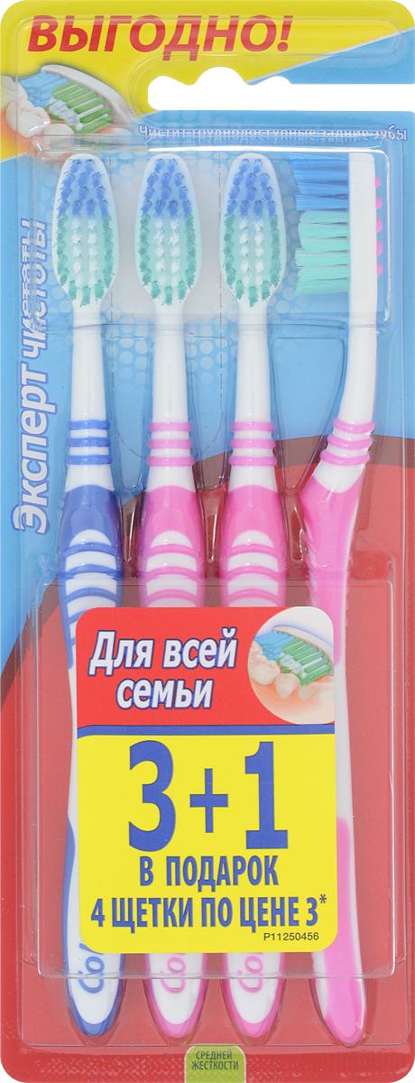 Colgate Зубная щетка Эксперт чистоты, средней жесткости, 3+1, цвет: розовый, синийMP59.4DЗубная щетка Colgate Эксперт чистоты чистит и проникает в труднодоступные места. Выступающий кончик щетинок великолепно очищает задние коренные зубы. Мягкая резиновая подушечка для чистки языка удаляет бактерии, вызывающие неприятный запах изо рта. Товар сертифицирован.