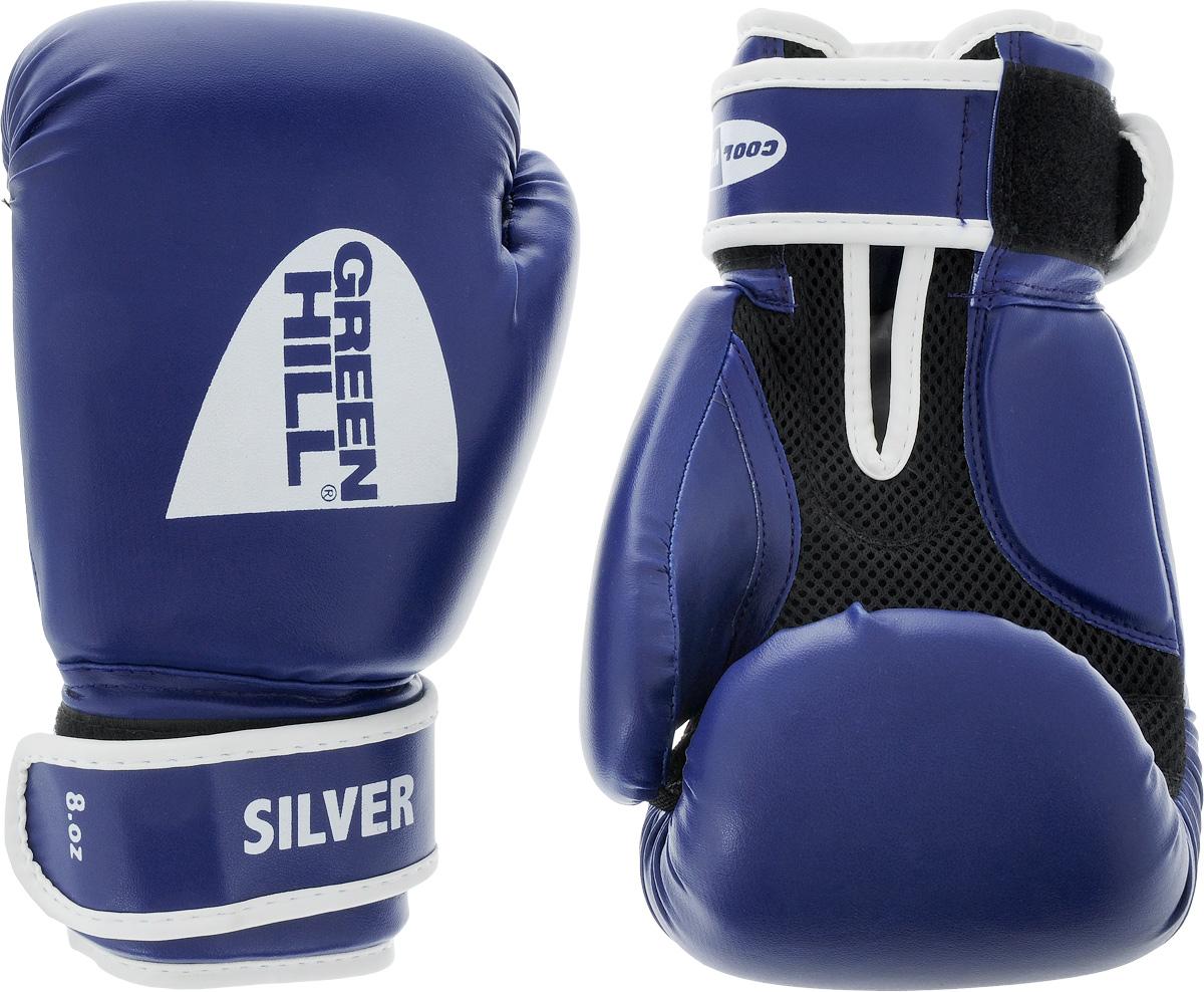 Боксерские перчатки Green Hill Silver, цвет: синий, белый. Размер 8 унций. BGS-20391508160Боксерские перчатки Green Hill Silver подойдут для легких спаррингов и тренировок. Верх выполнен из высококачественной искусственной кожи, наполнитель - из вспененного полимера. Ладонь выполнена по технологии, которая позволяет руке дышать. Манжет на липучке способствует быстрому и удобному надеванию перчаток, плотно фиксирует перчатки на руке.