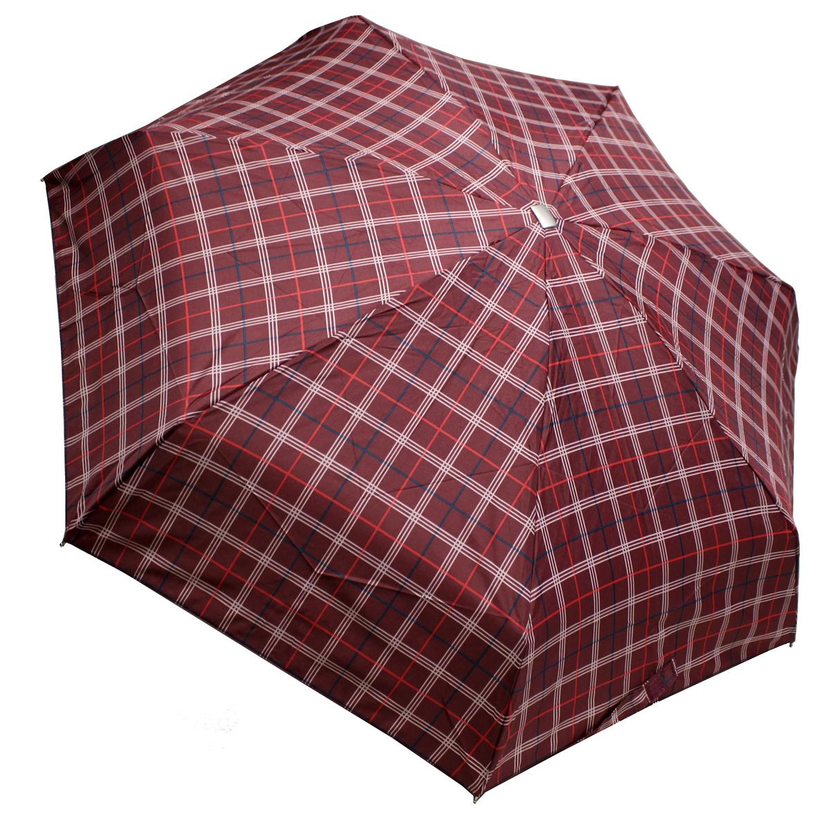 Зонт женский Edmins, механика, 5 сложений, цвет: бордовыйвый. 110-7Пуссеты (гвоздики)Механический компактный зонт Edmins в 5 сложений даже в ненастную погоду позволит вам оставаться стильной и элегантной. Купол зонта выполнен из прочного полиэстера. Каркас зонта выполнен из 7 металлических спиц, удобная рукоятка - из пластика с металлизированным матовым покрытием. Стержень выполнен из алюминия и стали.На рукоятке для удобства есть небольшой шнурок, позволяющий надеть зонт на руку тогда, когда это будет необходимо. Зонт оснащен системой антиветер, что защищает его от поломок при выворачивании ветром. Компактные размеры зонта в сложенном виде позволят ему без труда поместиться в сумочке и не доставят никаких проблем во время переноски. К зонту прилагается чехол. Длина спицы: 51 см.Длина стержня: 48 см.Вес: 240 г.