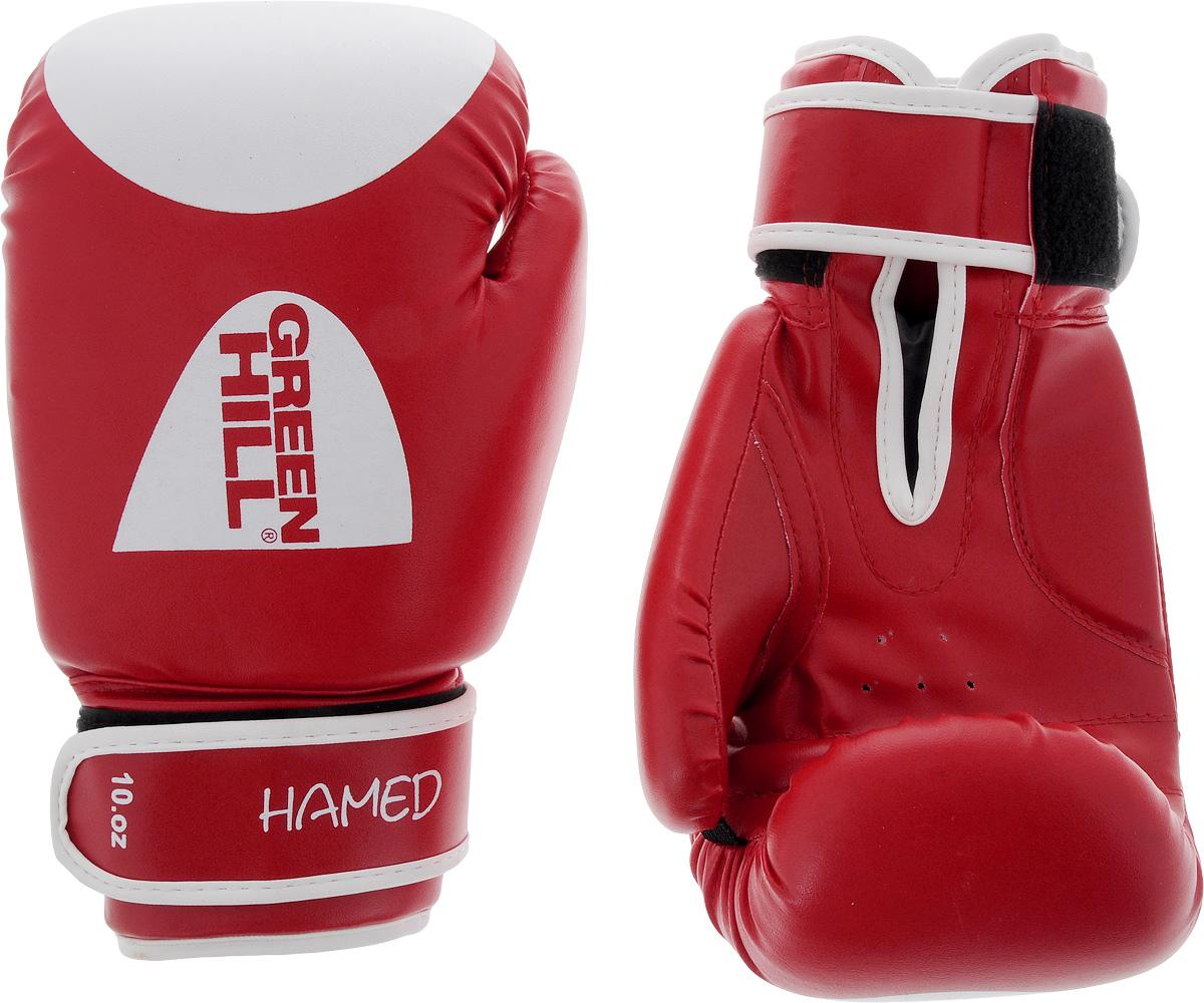 Боксерские перчатки Green Hill Hamed, цвет: красный, белый. Размер 10 унций. G-2036110SF 0085Боксерские перчатки Green Hill Silver подойдут для легких спаррингов и тренировок. Верх выполнен из высококачественной искусственной кожи, наполнитель - из вспененного полимера. Ладонь выполнена по технологии, которая позволяет руке дышать. Манжет на липучке способствует быстрому и удобному надеванию перчаток, плотно фиксирует перчатки на руке.