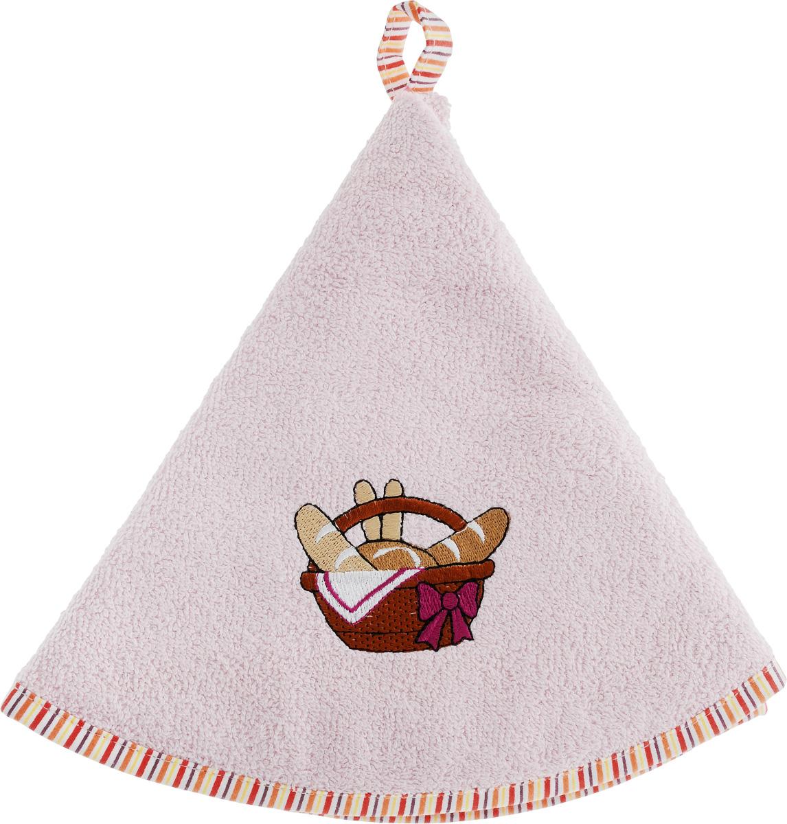 Салфетка кухонная Karna Zelina, цвет: светло-розовый, диаметр 50 см. 504/CHAR001FA-5125 WhiteКруглая кухонная салфетка Karna Zelina выполнена из приятной на ощупь махровой ткани (100% хлопок). Изделие отлично впитывает влагу, быстро сохнет, сохраняет яркость цвета и не теряет форму даже после многократных стирок. Салфетка дополнена каймой контрастного цвета и красивой вышивкой. С помощью специальной петельки ее удобно вешать на крючок. Салфетка очень практична и неприхотлива в уходе. Она создаст прекрасное настроение и дополнит интерьер.