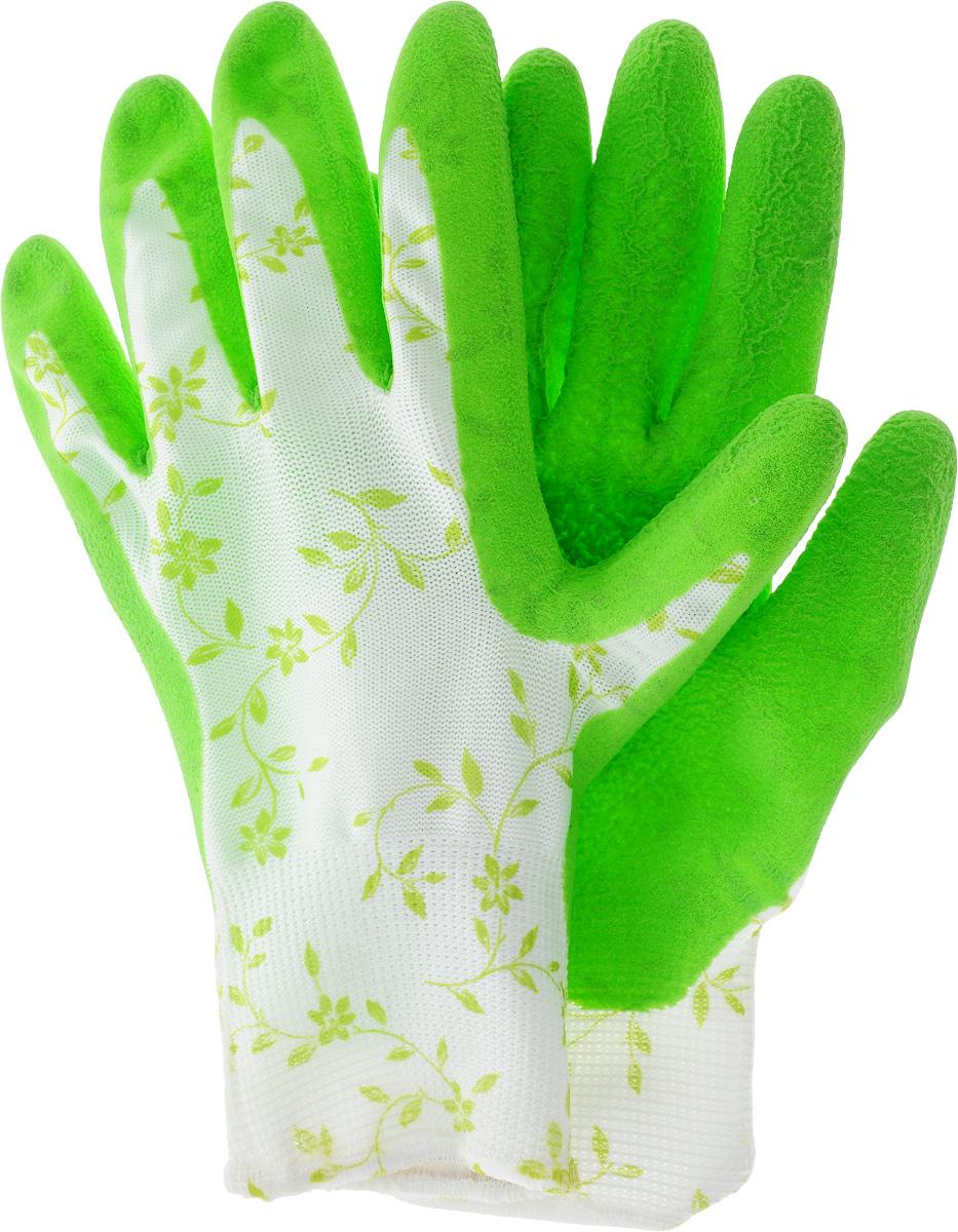 Перчатки садовые Garden Show, цвет: зеленый. Размер 8ст18фСадовые перчатки Garden Show - надежная защита женских рук при работе в саду. Латексноепокрытие обеспечивает устойчивость ладонной части к проникновению влаги. Комфортны в использовании благодаря вентиляции тыльной части перчатки. Эластичны и плотно облегают кисть, что обеспечивает дополнительное удобство. Надежно защищают руки от грязи и проникновения земли внутрь перчатки.Сохраняют тактильную чувствительность пальцев благодаря технологии бесшовной вязки.Размер перчаток: M.