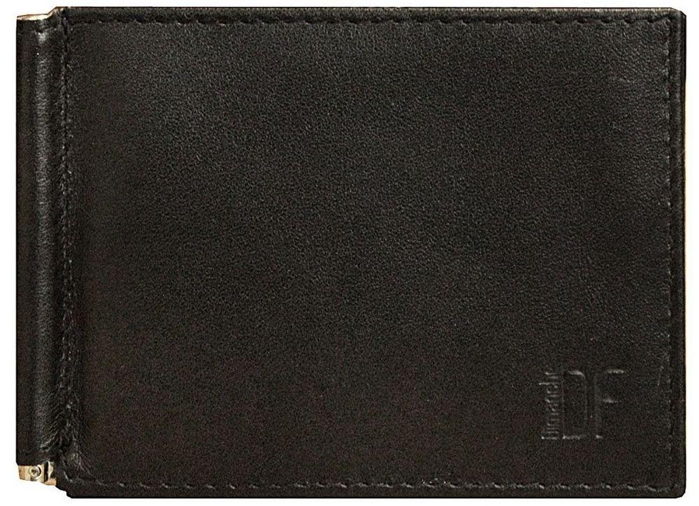 Зажим для купюр мужской Dimanche Bond, цвет: черный. 969/М1-022_516Удобный зажим из натуральной кожи, снабжен фиксирующейся в открытом положении скобой для денег, внутри 6 карманов для кредиток/визиток и 2 потайных кармашка. На задней стороне карман для мелочи на кнопке. Упакован в фирменную картонную коробку.