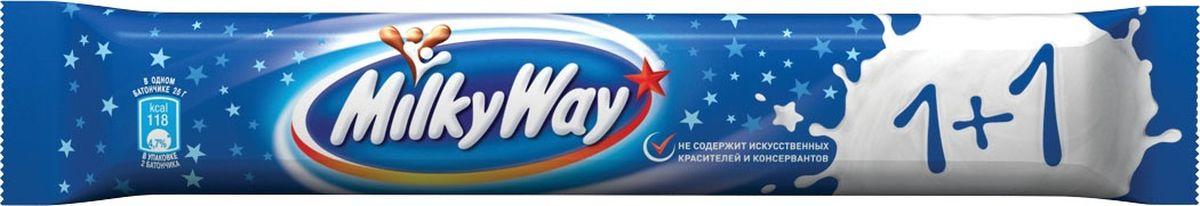 Milky Way шоколадный батончик, 52 г0120710Батончик Milky Way состоит из нуги, которая намного легче молока. Молочный шоколад, которым покрыт батончик, делает вкус Milky Way незабываемо нежным. Порадуйте юных сладкоежек!