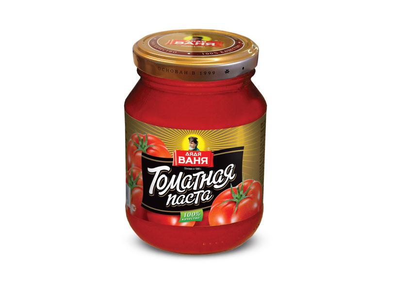 Делается строго по ГОСТу в России только из свежих томатов. Массовая доля сухих веществ 25%. Без красителей и консервантов!