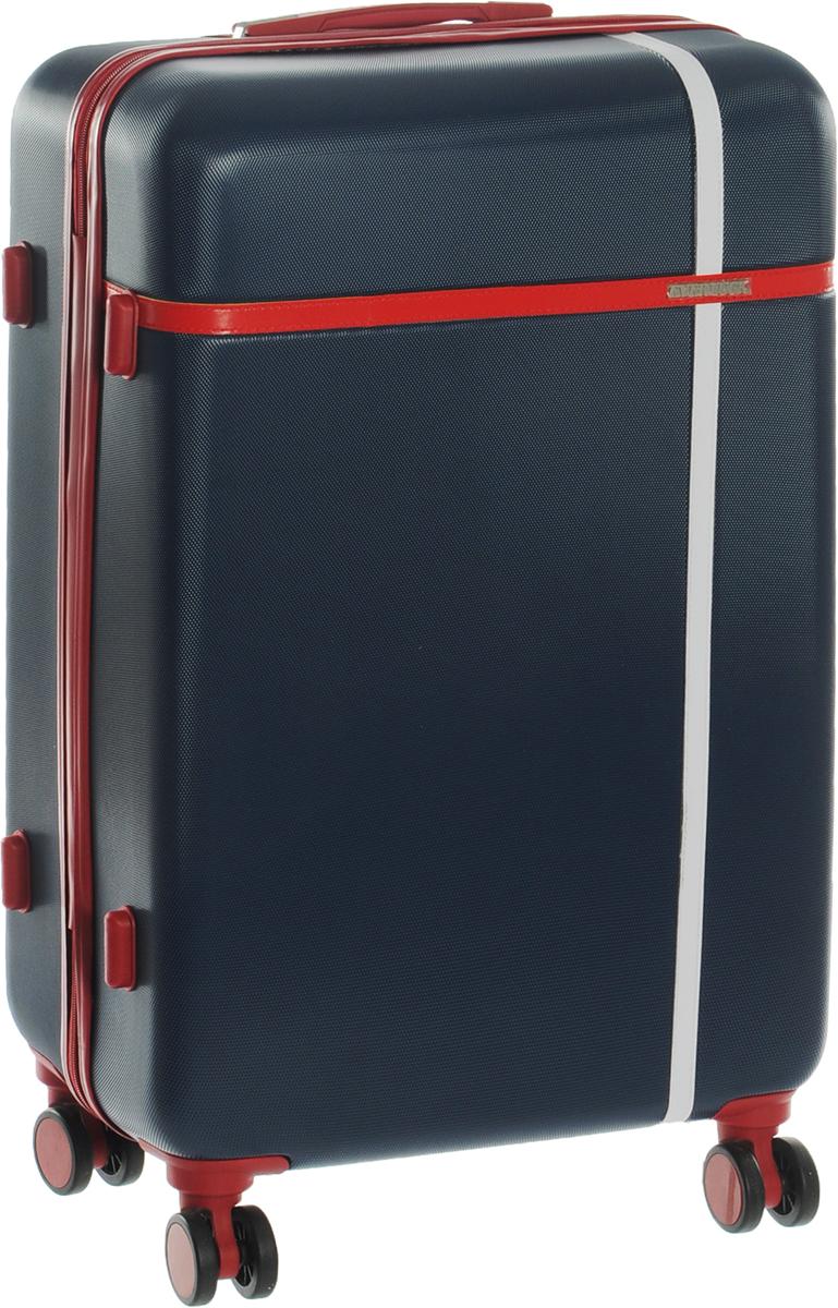 Чемодан Everluck, цвет: синий, красный, 82 лTrevira ThermoЧемодан Everluck надежный и практичныйв путешествии.Выполнен из прочного и ударостойкого ABS пластика, материал внутренней отделки - 100% нейлон зеленого цвета. Чемодан содержит продуманную внутреннюю организацию. Имеется одно большое отделение, которое закрывается по периметру на застежку-молнию. Внутри содержатся три больших отдела для хранения одежды. Для легкой и удобной перевозки чемодан оснащен четырьмя колесами, вращающимися на 360 градусов. Телескопическая ручка выдвигается нажатием на кнопку и фиксируется в двух положениях. Сверху и сбоку предусмотрены ручки для поднятия чемодана.Чемодан оснащен кодовым замком TSA, который исключает возможность взлома.Размер чемодана: 70 х 45 х 25 см.Объем чемодана: 82 л.