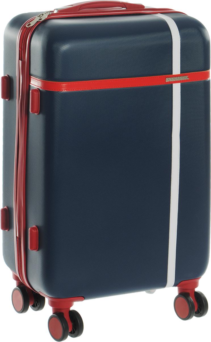 Чемодан Everluck, цвет: синий, красный, 53 лГризлиЧемодан Everluck надежный и практичныйв путешествии.Выполнен из прочного и ударостойкого ABS пластика, материал внутренней отделки - 100% нейлон зеленого цвета. Чемодан содержит продуманную внутреннюю организацию. Имеется одно большое отделение, которое закрывается по периметру на застежку-молнию. Внутри содержатся три больших отдела для хранения одежды. Для легкой и удобной перевозки чемодан оснащен четырьмя колесами, вращающимися на 360 градусов. Телескопическая ручка выдвигается нажатием на кнопку и фиксируется в двух положениях. Сверху и сбоку предусмотрены ручки для поднятия чемодана.Чемодан оснащен кодовым замком TSA, который исключает возможность взлома.Размер чемодана: 60 х 42 х 24 см.Объем чемодана: 53 л.