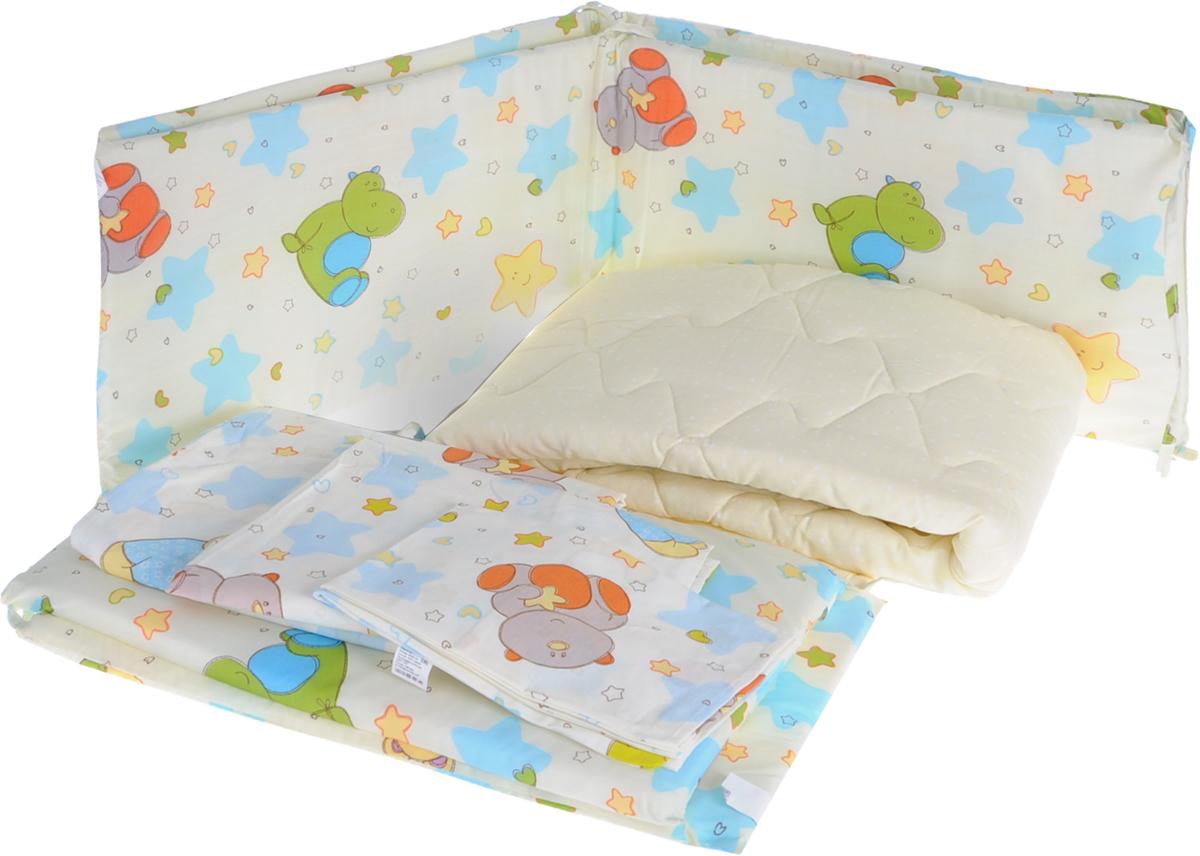 Baby Nice Комплект в кроватку Звездопад цвет желтый 9 предметовА00319Комплект в кроватку - это превосходный подарок для родителей. Очаровательный постельный комплект выполнен в нежных цветах и украшен изображениями милых зверушек.Комплект в кроватку для самых маленьких изготовлен из самой качественной ткани, самой безопасной и гигиеничной, самой экологичной и гипоаллергенной. Отлично подходит для кроваток малышей, которые часто двигаются во сне. Хлопковое волокно прекрасно переносит стирку, быстро сохнет и не требует особого ухода, не линяет и не вытягивается. Ткань прошла специальную обработку по умягчению, что сделало её невероятно мягкой и приятной к телу. Комплект создаст дополнительный комфорт и уют ребенку. Родителям не составит особого труда ухаживать за комплектом. Он превосходно стирается, легко гладится. Ваш малыш будет в восторге от такого необыкновенного постельного набора! В комплект входит: одеяло, пододеяльник, подушка, наволочка, простынь на резинке, 4 бортика.
