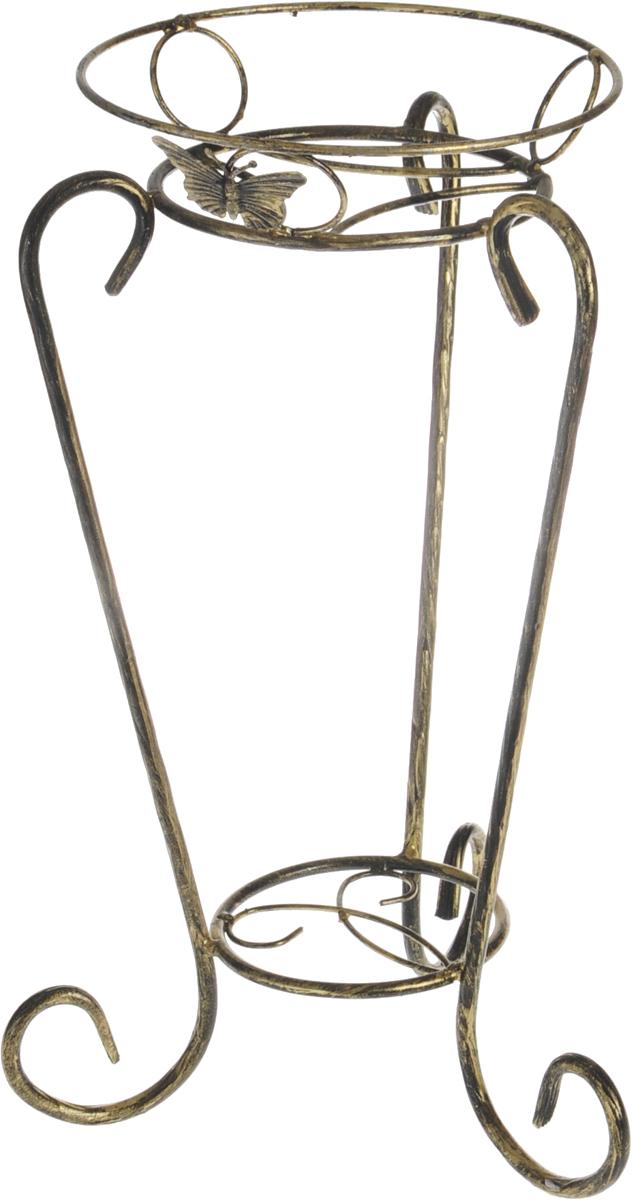 Подставка для цветов Фабрика ковки Лоза, на 1 цветок, цвет: черный, золотой. 14-011-BE4-PBORПодставка Фабрика ковки Лоза, выполненная из металлических прутьев, станет прекрасным украшением любого интерьера. Ножки выполнены в виде завитков, между которыми располагается подставка. Плавные изгибы придают ей неповторимую форму, а продуманная конструкция будет гарантировать хорошую устойчивость. Подставка предназначена для установки одного цветка.Размер подставки: 32 х 32 х 53 см.Диаметр полки (по верхнему краю): 24 см.
