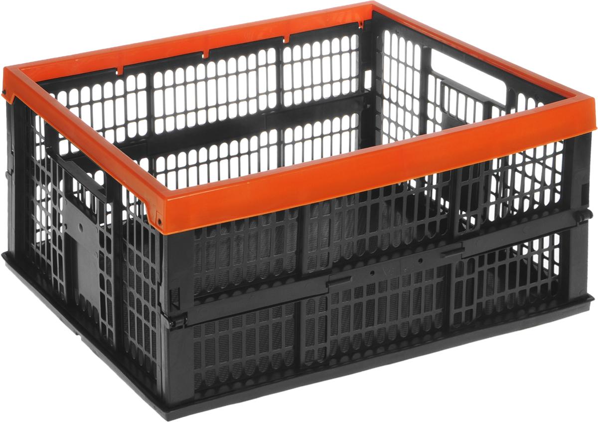 Ящик для сбора урожая Garden Show, складной, цвет: черный, оранжевый, 35 х 48 х 24 смC0038550Складной ящик Garden Show прекрасно подойдет для сбора урожая, а также хранения пищевых продуктов, кухонных принадлежностей и различных бытовых предметов. Изделие выполнено из прочного пластика, оснащено перфорированными стенками и сплошным дном. Удобные ручки обеспечивают комфортное использование. Ящик быстро и легко складывается, что позволяет компактно его хранить.Размер ящика (в разложенном виде): 35 х 48 х 24 см.Размер ящика (в собранном виде): 35 х 48 х 5,5 см.Объем: 38 л.