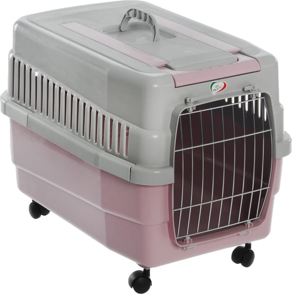 Переноска для животных IMAC  Kim 60 , на колесах, цвет: светло-серый, розовый, 60 х 40 х 45 см