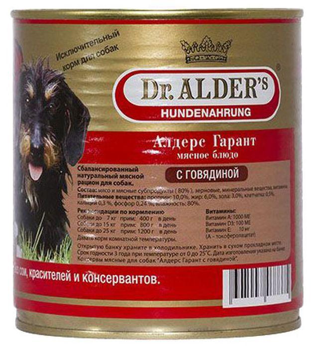 Dr. Alders Алдерс Гарант. Говядина, консервы для собак, 80% рубленного мяса, 750 г12171996Полнорационный сбалансированный корм премиум класса, содержит минимум 80% натурального охлажденного рубленного мяса.