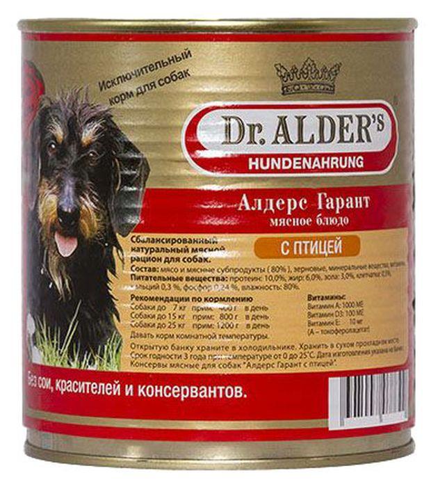 Консервы для собак Dr. Alders Алдерс Гарант, птица, 750 г61408Консервы для собак Dr. Alders Алдерс Гарант - является полнорационным сбалансированным кормом и идеально подходит, как для ежедневного кормления в чистом виде, так и для добавок к кашам, супам и сухим кормам.Щенкам рекомендуется давать в чистом виде, начиная с 3-х недельного возраста. Различные варианты используемого мяса служат для более полного удовлетворения вкуса собак и разнообразия в их рационе.Без искусственных красителей, консервирующих веществ и вкусовых добавок. Не содержит сои и ГМО.Состав: 80% мясо и мясные субпродукты, животные жиры, растительные масла, витамины и минеральные соли.Товар сертифицирован.
