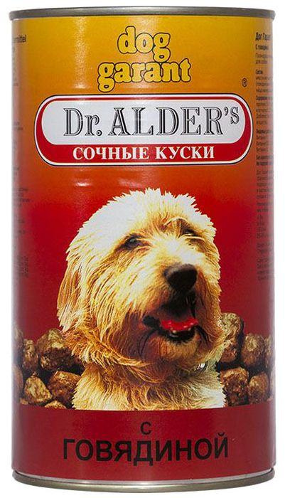 Dr. Alders Dog Garant. Говядина, консервы для собак кусочки в желе, 1,23 кг0120710Полнорационный сбалансированный корм, сочные кусочки в соусе, для ежедневного кормления.