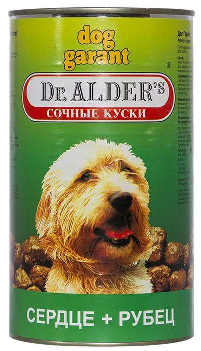 Dr. Alders Dog Garant. Рубец, сердце, консервыдля собак кусочки в желе, 1,23 кг0120710Полнорационный сбалансированный корм, сочные кусочки в соусе, для ежедневного кормления.
