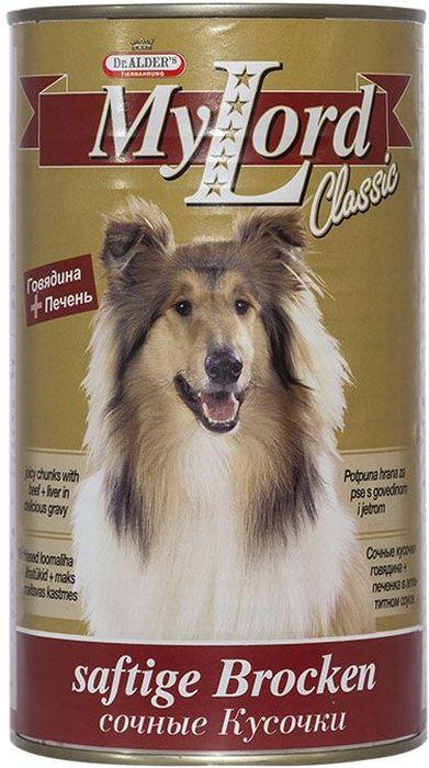 Dr. Alders Мой Лорд Классик. Говядина, печень, консервы для собак, 1,23 кг0120710Полнорационный сбалансированный корм, сочные кусочки в соусе, для ежедневного кормления.