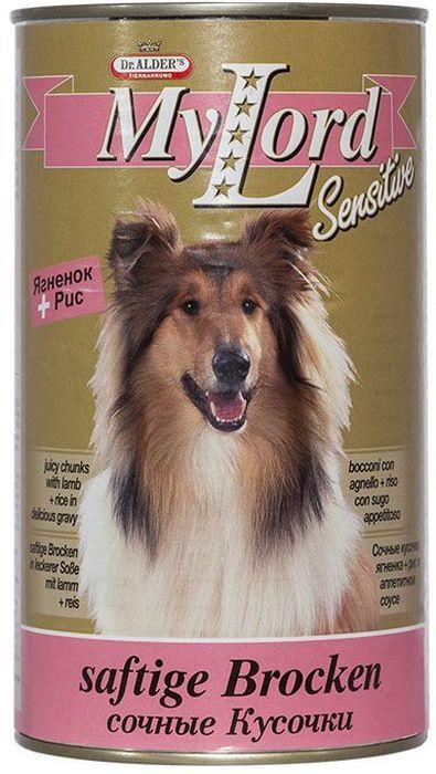 Dr. Alders Мой Лорд Сенситив. Ягненок, рис, консервы для собак, 1,23 кг0120710Полнорационный сбалансированный корм, сочные кусочки в соусе, для ежедневного кормления, в том числе для собак склонных к аллергии.