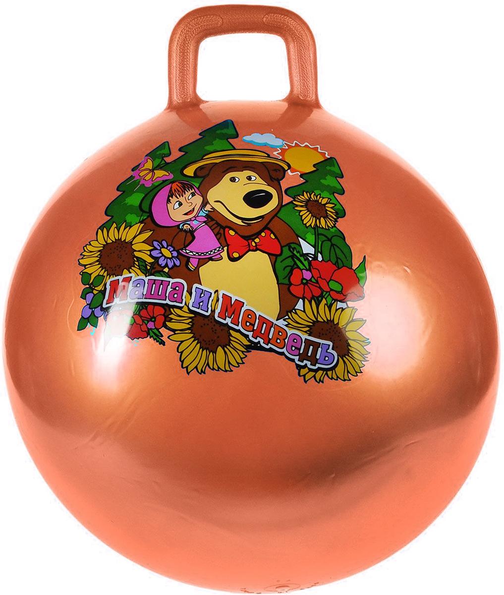 Играем вместе Мяч-прыгунок Маша и Медведь с ручкой цвет оранжевый 55 см
