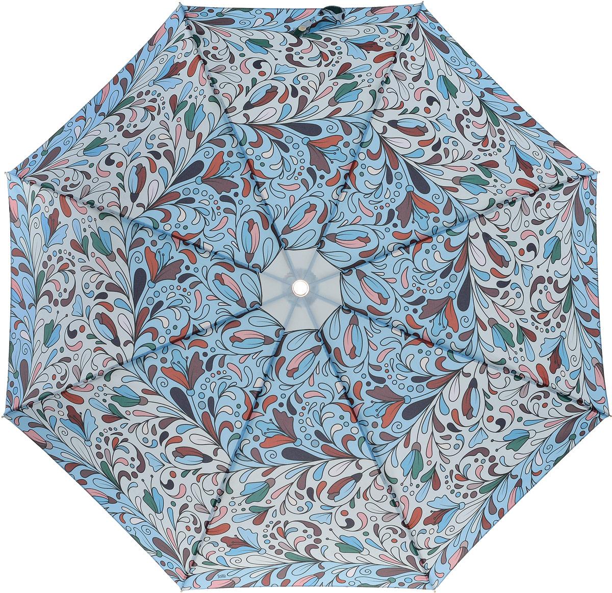 Зонт женский Stilla, цвет: синий. 772/3 miniКолье (короткие одноярусные бусы)Облегченный женский зонтик. Конструкция 3 сложения, полный автомат, облегченная конструкция (вес - 320 гр), система антиветер. Ткань - полиэстер. Диаметр купола - 112 см по верхней части, 101 см по нижней. Длина в сложенном состоянии - 27 см.