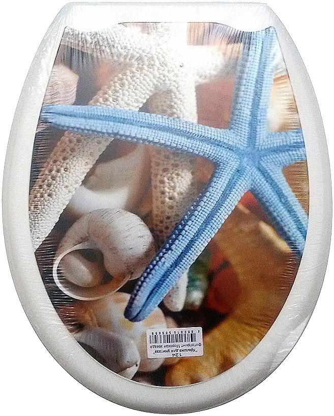 Сиденье для унитаза DeLuxe Морская звезда, 45 х 37 см1504Сидение для унитаза с фотопринтом, 45 х 37 см, материал полипропилен (пластик), упаковка термоусадочная пленка, пластиковый крепеж в комплекте. Четыре пластиковые опоры, расстояние меджу центрами крепежа 150-170 мм. Рисунок на поверхности нанесен с помощью высококачественной пленки, стоек к истиранию, долговечен. Сидение легко мыть. Дизайны фотопринтов повторяют дизайны противоскользящих ковриков.