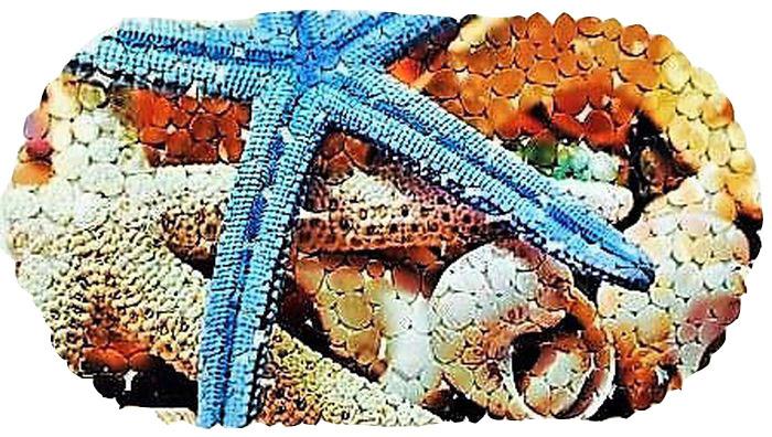 Коврик для ванной DeLuxe Морская звезда, противоскользящий, овал, SPA, 67 х 37 см68/5/3Коврик противоскользящий 67х36 см., материал ПВХ, хангер. Рельефная поверхность коврика предохраняет от падения. 104 присоски диаметром 15 мм , расположенных по всей нижней стороне коврика, способствуют плотному прилеганию к поверхности ванн из любых материалов. Рисунок на лицевой поверхности нанесен с помощью высококачественной пленки, стоек к истиранию, долговечен. Коврик легко мыть.