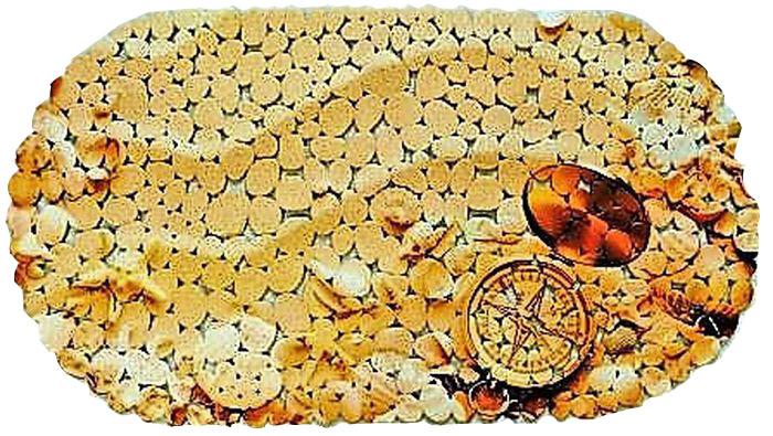 Коврик для ванной DeLuxe Компас, противоскользящий, овал, SPA, 67 х 36 см391602Коврик противоскользящий 67х36 см., материал ПВХ, хангер. Рельефная поверхность коврика предохраняет от падения. 104 присоски диаметром 15 мм , расположенных по всей нижней стороне коврика, способствуют плотному прилеганию к поверхности ванн из любых материалов. Рисунок на лицевой поверхности нанесен с помощью высококачественной пленки, стоек к истиранию, долговечен. Коврик легко мыть.
