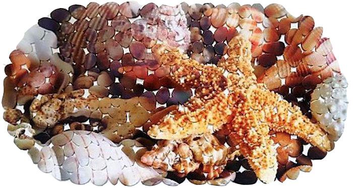 Коврик для ванной DeLuxe Звезда, противоскользящий, SPA, овал, 67 х 36 см391602Коврик противоскользящий 67х36 см., материал ПВХ, хангер. Рельефная поверхность коврика предохраняет от падения. 104 присоски диаметром 15 мм , расположенных по всей нижней стороне коврика, способствуют плотному прилеганию к поверхности ванн из любых материалов. Рисунок на лицевой поверхности нанесен с помощью высококачественной пленки, стоек к истиранию, долговечен. Коврик легко мыть.