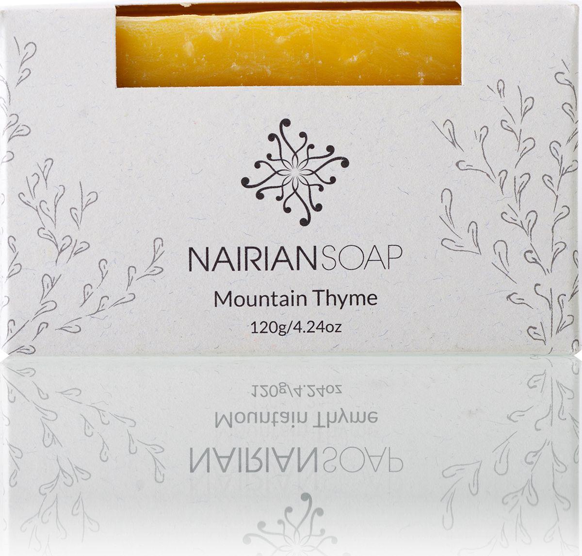 Nairian Мыло, горный тимьян, 120 гBSSLG-01-0120Творит чудеса со смешанной и жирной типами кожи. Главный ингредиент – эфирное масло дикого чабреца, обладающее сильными антибактериальными свойствами и борющееся с акне. При использовании в горячем душе испаряющееся масло чабреца раскрывает носовой проход и помогает прочистить их от легких респираторных инфекций. Подходит для всего тела, рекомендуется для горячего душа при первых симптомах гриппа или простуды.