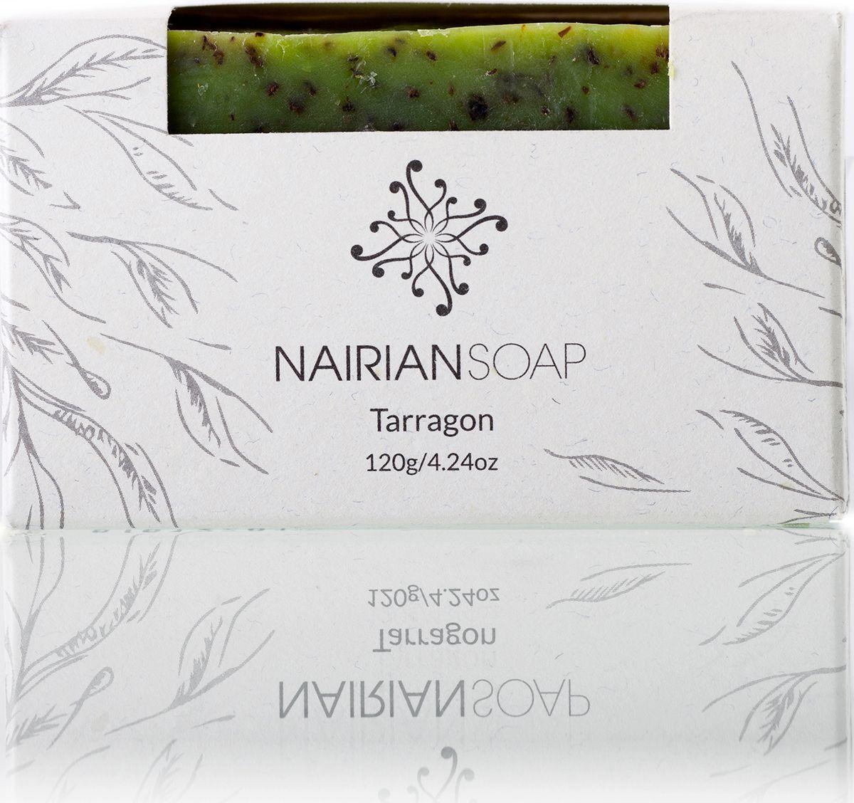 Nairian Мыло, тархун, 120 г406239851Ароматное мыло с кусочками сушеного тархуна, которые превращают его в превосходный скраб для тела. Благодаря аромату тархуна и его способности препятствовать развитию бактерий на коже успешно устраняет неприятные запахи. Масло виноградных косточек повышает тонус и увлажняет кожу, повышая её эластичность.