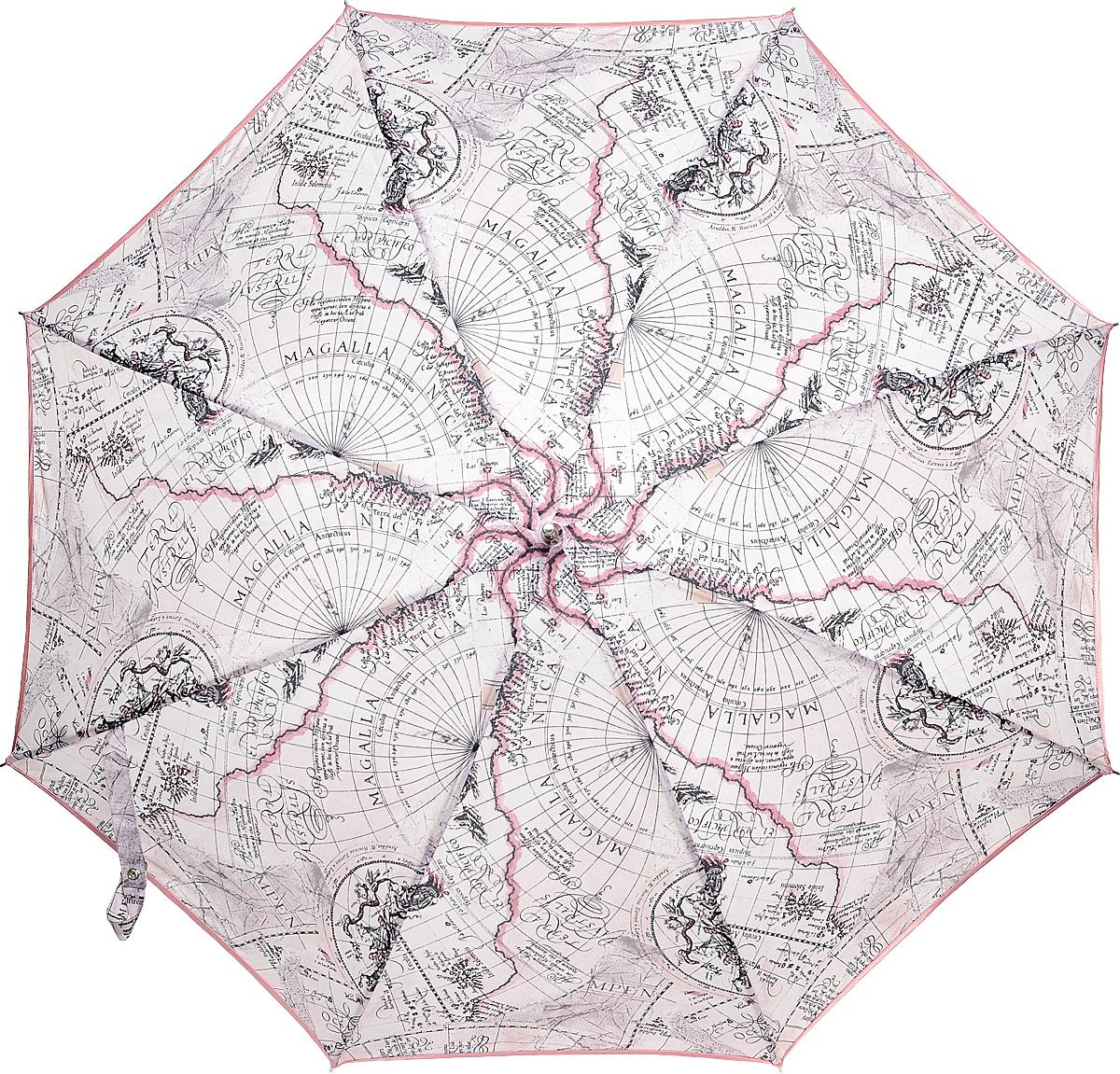 Зонт-трость женский Stilla, цвет: серо-сиреневый, черный. 680/3 autoКолье (короткие одноярусные бусы)Зонт-трость Stilla надежно защитит вас от дождя. Купол, оформленный оригинальным принтом, выполнен из высококачественного ПВХ, который не пропускает воду.Каркас зонта и спицы выполнены из высококарбонистой стали. Зонт имеет автоматический тип сложения: открывается и закрывается при нажатии на кнопку. Удобная ручка выполнена из пластика.