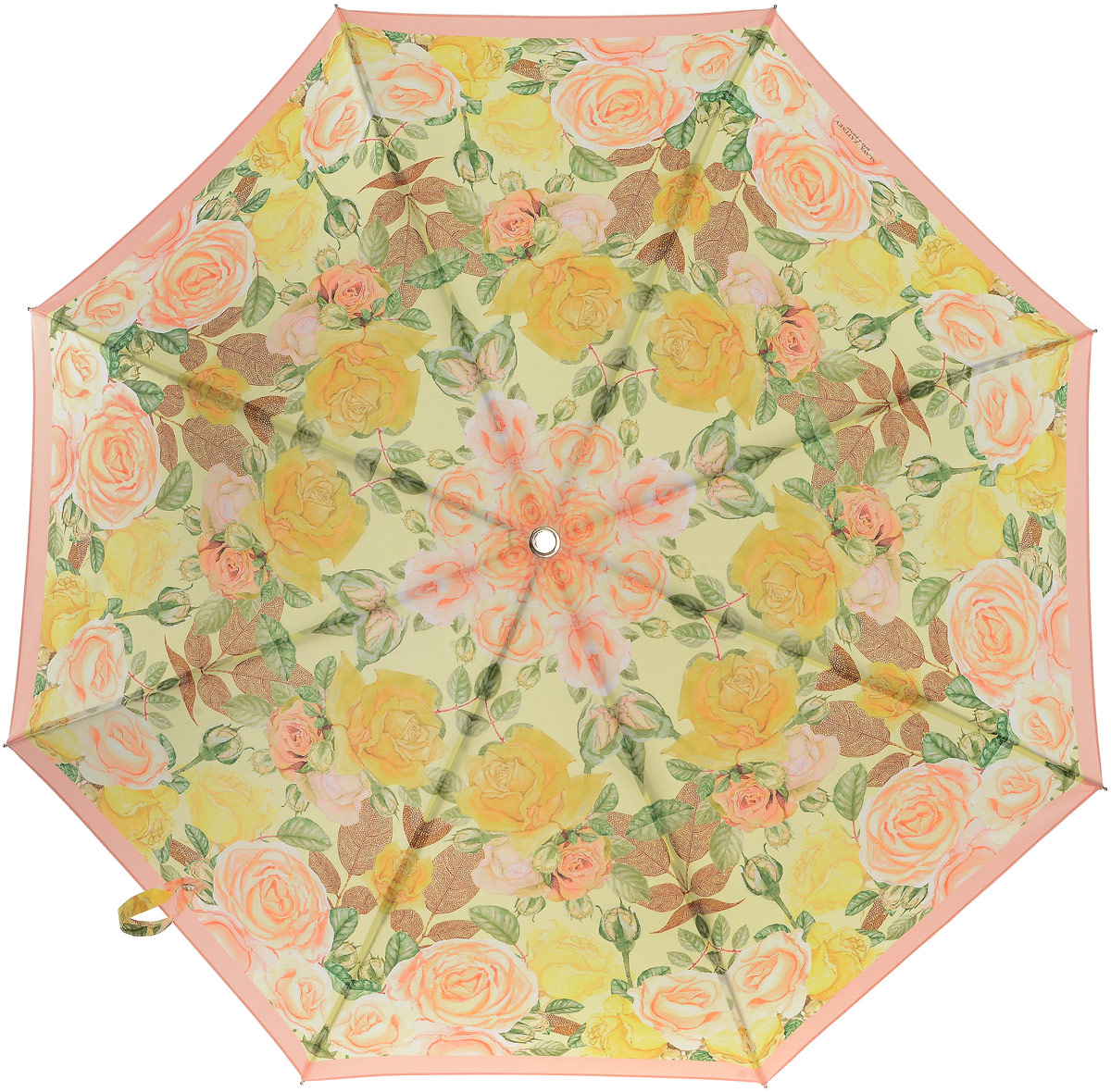 Зонт-трость женский Slava Zaitsev, механика, цвет: желтый. SZ-082Серьги с подвескамиОригинальный зонт Slava Zaitsev надежно защитит вас от непогоды. Купол, выполненный из высококачественного полиэстера, который не пропускает воду, оформлен оригинальным принтом. Каркас зонта и спицы выполнены из высококачественного металла. Зонт имеет автоматический тип сложения: открывается и закрывается при нажатии на кнопку. Удобная ручка выполнена из пластика.