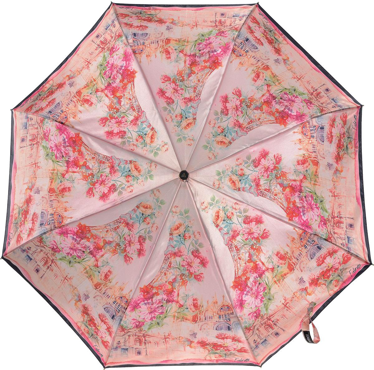 Зонт женский Fabretti, цвет: светло-розовый, мультиколор. S-17101-3Колье (короткие одноярусные бусы)Классический женский зонт от итальянского бренда Fabretti. Женственный розовый оттенок и дизайнерский принт, сочетающий в себе цветочный рисунок и городскую архитектуру с легкостью подчеркнут ваш вкус и сделают вас неотразимой в любую непогоду! Значительным преимуществом данной модели является система антиветер, которая позволяет выдержать сильные порывы ветра. Материал купола – полиэстер. Он невероятно изящен, приятен на ощупь, обладает высокой прочностью, а также устойчив к выцветанию. Эргономичная ручка сделана из высококачественного пластика-полиуретана с противоскользящей обработкой.