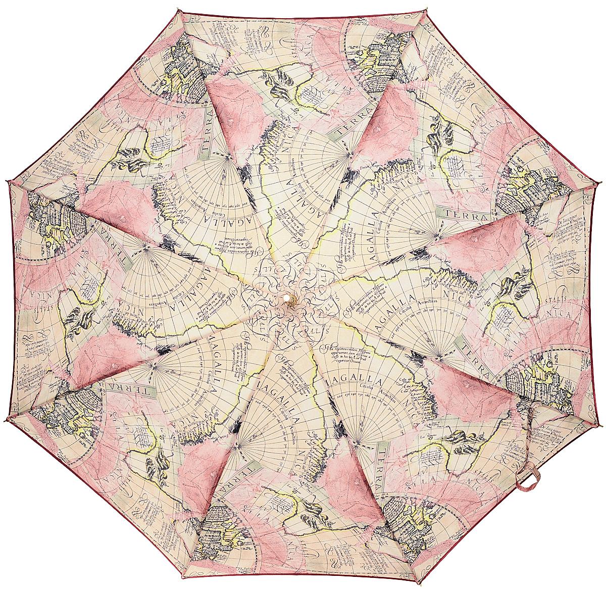 Зонт-трость женский Stilla, цвет: светло-розовый, бежевый, черный. 680/1 autoSCPA390Зонт-трость Stilla надежно защитит вас от дождя. Купол, оформленный оригинальным принтом, выполнен из высококачественного ПВХ, который не пропускает воду.Каркас зонта и спицы выполнены из высококарбонистой стали. Зонт имеет автоматический тип сложения: открывается и закрывается при нажатии на кнопку. Удобная ручка выполнена из пластика.