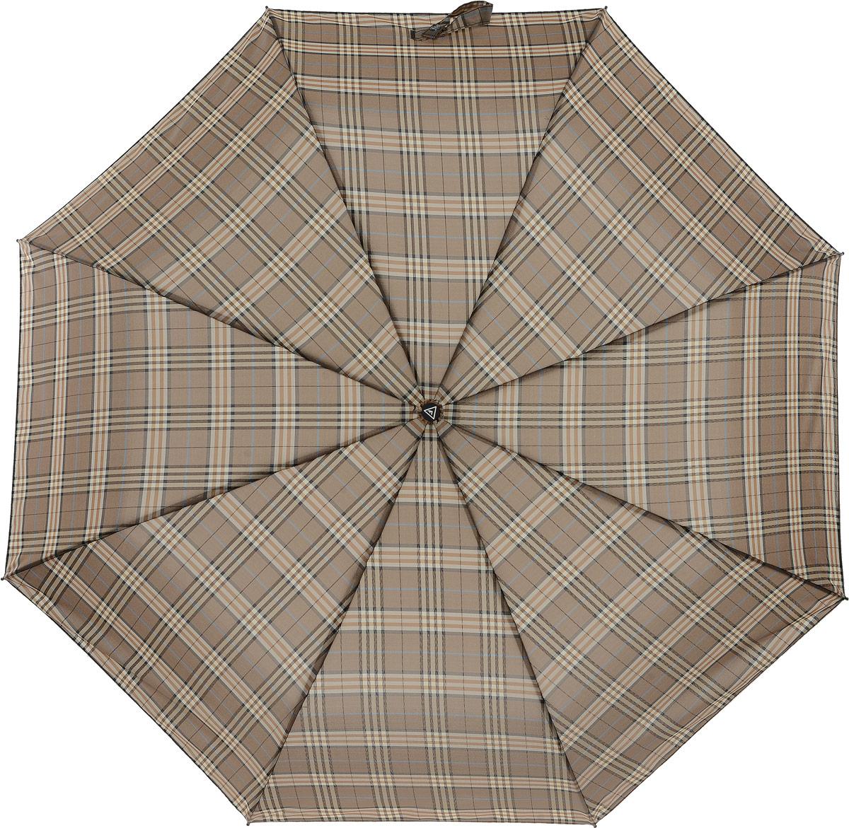 Зонт мужской Fabretti, цвет: бежевый. MCH-2Колье (короткие одноярусные бусы)Классический зонт - полный автомат от итальянского бренда Fabretti. Материал купола - эпонж, обладает высокой прочностью и износостойкостью. Вода на куполе из такого материала скатывается каплями вниз, а не впитывается, на нем практически не видны следы изгибов. Эргономичная ручка сделана из высококачественного пластика-полиуретана с противоскользящей обработкой.